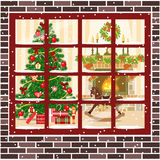 Christmas room with fireplace, furniture, christmas tree through the window. Christmas decorated room with christmas tree and fireplace through the window. Flat Royalty Free Stock Image