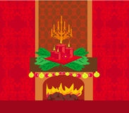 Christmas room with fireplace Royalty Free Stock Photo