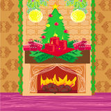 Christmas room with fireplace. Illustration Stock Photo