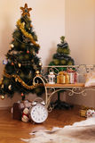 Christmas room golden decoration Royalty Free Stock Photo