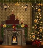 Christmas room with golden decorations vector illustration