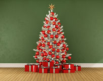 Christmas room. Green room with white christmas trre with red decoration - 3D rendering Royalty Free Stock Photos