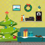 Christmas room interior. Christmas tree, gift and decoration. The music receiver and speaker on a shelf. Flat cartoon illustration Royalty Free Stock Photos