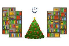 Christmas room interior. Christmas treein library, Flat style vector illustration. royalty free illustration