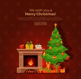 Christmas room interior in colorful cartoon flat style. Christmas fireplace room interior in colorful cartoon flat style. Christmas tree, gifts, decoration Stock Image