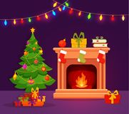 Christmas room interior in colorful cartoon flat style. Christmas fireplace room interior in colorful cartoon flat style. Christmas tree, gifts, decoration Royalty Free Stock Photography