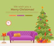 Christmas room interior in colorful cartoon flat style. Christmas tree, gifts, decoration, sofa, cat, aquarium fish. Cozy noel xmas night celebration interior Stock Images