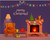 Christmas room interior in colorful cartoon flat style. Fir tree, gifts, decoration, arm chair, fireplace, table with teapot cup. Cozy noel xmas night Royalty Free Stock Image