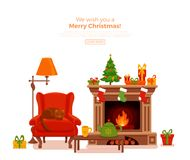 Christmas room interior in colorful cartoon flat style. Fir tree, gifts, decoration, arm chair, fireplace, table with teapot cup. Cozy noel xmas night Stock Photography