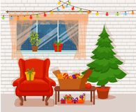Christmas room interior in colorful cartoon flat style. Royalty Free Stock Photo