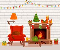 Christmas room interior in colorful cartoon flat style. Fir tree, gifts, decoration, arm chair, fireplace, table with teapot cup. Cozy noel xmas night Royalty Free Stock Photos