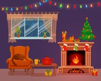 Christmas room interior in colorful cartoon flat style. Fir tree, gifts, decoration, arm chair, fireplace, table with teapot cup. Cozy noel xmas night Royalty Free Stock Photo