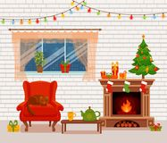 Christmas room interior in colorful cartoon flat style. Fir tree, gifts, decoration, arm chair, fireplace, table with teapot cup. Cozy noel xmas night Stock Photo