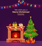 Christmas room interior in colorful cartoon flat style. Christmas fireplace room interior in colorful cartoon flat style. Christmas tree, gifts, decoration Stock Photos