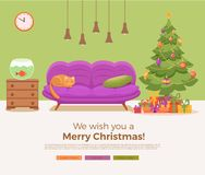 Christmas room interior in colorful cartoon flat style. Christmas tree, gifts, decoration, sofa, cat, aquarium fish. Cozy noel xmas night celebration interior Royalty Free Stock Image