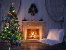 Christmas Room Interior Design Royalty Free Stock Images