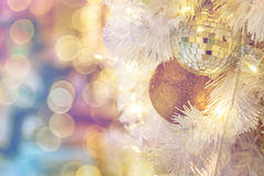 Christmas Room Interior Design, Xmas Tree Decorated By Lights Pr Royalty Free Stock Photography