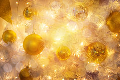Christmas Room Interior Design, Xmas Tree Decorated By Lights Pr Royalty Free Stock Images