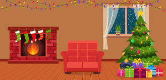 Christmas room interior with fireplace. Stock Images