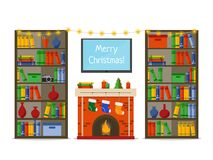 Christmas room interior. Christmas fireplace with gifts, socks in library, Flat style vector illustration. royalty free illustration