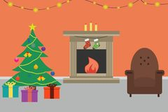 Christmas room interior. Flat style. Vector illustration. Christmas room interior with Christmas tree, chair, gifts, decorations, fireplace and candles. Flat Royalty Free Stock Photography