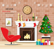 Christmas room interior set with christmas tree, fireplace, armchair, gift boxes and old clock. Vector illustration Stock Photo