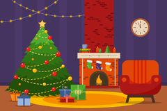 Christmas room interior. Christmas tree, armchair and fireplace with gifts, socks, Flat style vector illustration. stock illustration