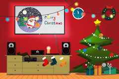 Christmas room interior. Christmas tree, gift, socks and decoration. TV, loudspeakers, receiver for home movie theater and music in the apartment. Flat cartoon Royalty Free Stock Image