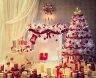 Christmas Room Interior, Xmas Tree Fireplace Presents, House Royalty Free Stock Image