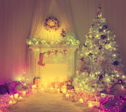 Christmas Room Interior, Xmas Tree Lights, Vintage Fireplace Royalty Free Stock Images