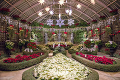 Christmas Room. Phipps Conservatory's Christmas Holiday Room Decorated with White and Red Poinsettias and Bright Lighted Stars and Snowflakes stock photo