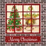 Christmas room postcard. With fireplace, christmas tree through the window. Christmas room with fireplace and xmas tree through the window.Vector illustration Stock Photography