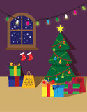 Christmas room poster or card. Room with christmas decorations poster or card Stock Photography