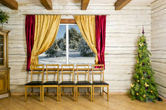 Christmas room in rural house Stock Images
