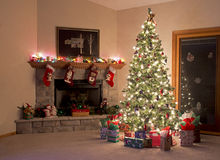 Christmas Room. Christmas Tree And Fireplace Decorations Stock Photography