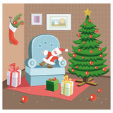 Christmas room. With the Christmas tree and gifts Royalty Free Stock Image