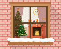 Christmas room through the window Stock Photography
