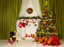 Christmas Room Xmas Tree, Decorated Home Interior, Fireplace Sock Royalty Free Stock Images