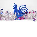 Christmas roosters. Christmas background.  Blue Rooster Royalty Free Stock Photography