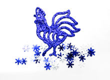 Christmas roosters. Christmas background.  Blue Rooster Royalty Free Stock Photos