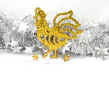 Christmas roosters. Christmas background.  Gold Rooster Royalty Free Stock Photography
