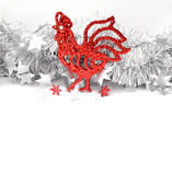 Christmas roosters. Christmas background.  Red Rooster Stock Photo