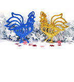 Christmas roosters. Christmas background. Rooster Royalty Free Stock Photography