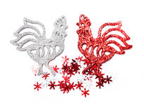 Christmas roosters. Christmas background. Rooster Royalty Free Stock Photos