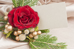 Christmas rose golden berries blank card Royalty Free Stock Images