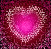 Christmas rosy love  frame. Christmas love snow frame. Glow snowflakes Stock Images