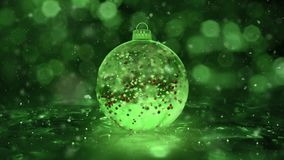 Christmas Rotating Green Ice Glass Bauble snowflakes red balls background loop