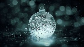 Christmas rotating grey noir ice glass bauble snow red balls background loop