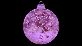 Christmas rotating pink ice glass bauble decoration red petals alpha matte loop