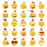 Christmas Rough Emoji set. Big Set of 36 Christmas high quality vector cartoonish emoticons, in rough hand-drawn design style Stock Photography